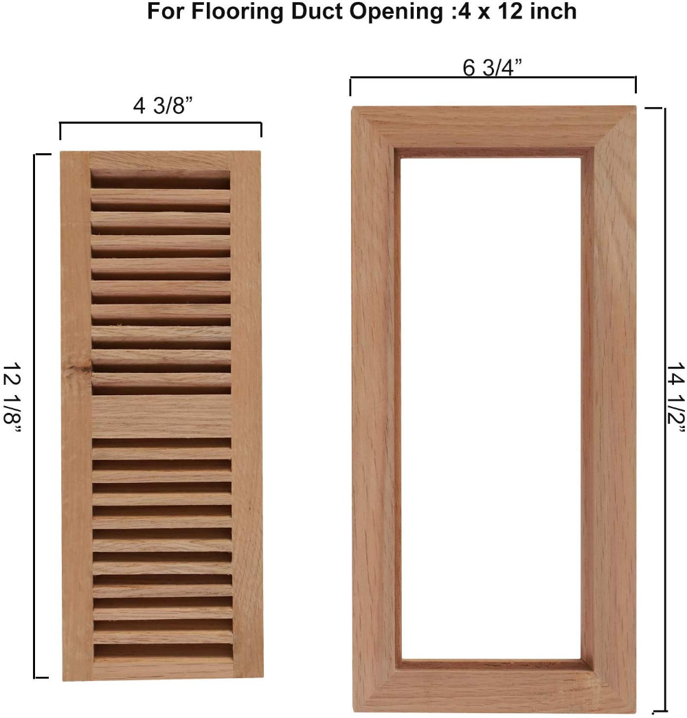 Welland 4 Inch By 10 Inch Hickory Flush Mount Vents With Frame Wood Floor Register Vent Unfinished 3 4 Thickne Wood Flush Mount Floor Registers Hickory Wood