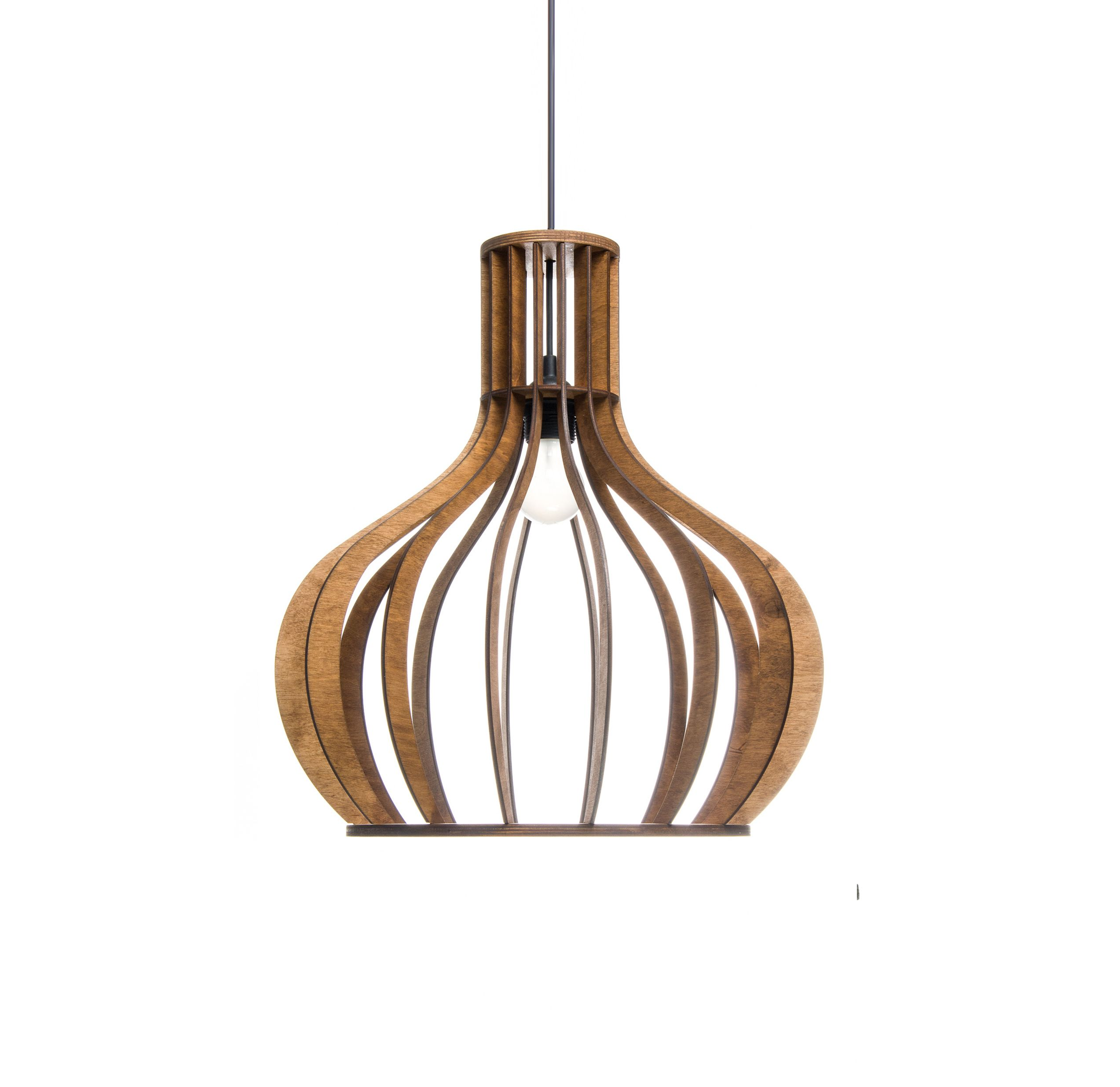 Wood Lamp Pendant Light Dining Room Lighting Kitchen Island Light Fixture  Wooden Lampshade Bubble Chandelier Round Lamp ALREADY ASSEMBLED