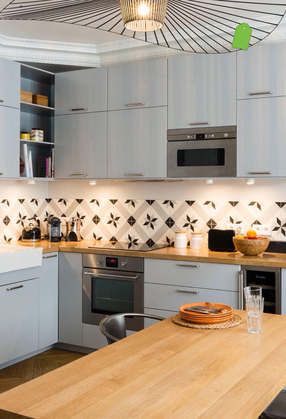 Credence carreau ciment cuisine cuisine gris cuisine carreaux de ciment et id e d co cuisine - Cuisine carreau de ciment ...