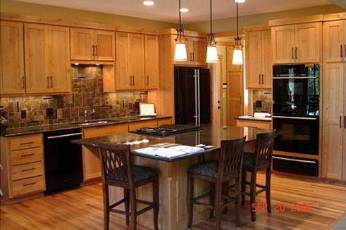 Oak slate black appliances kitchen pinterest for Builder oak countertop