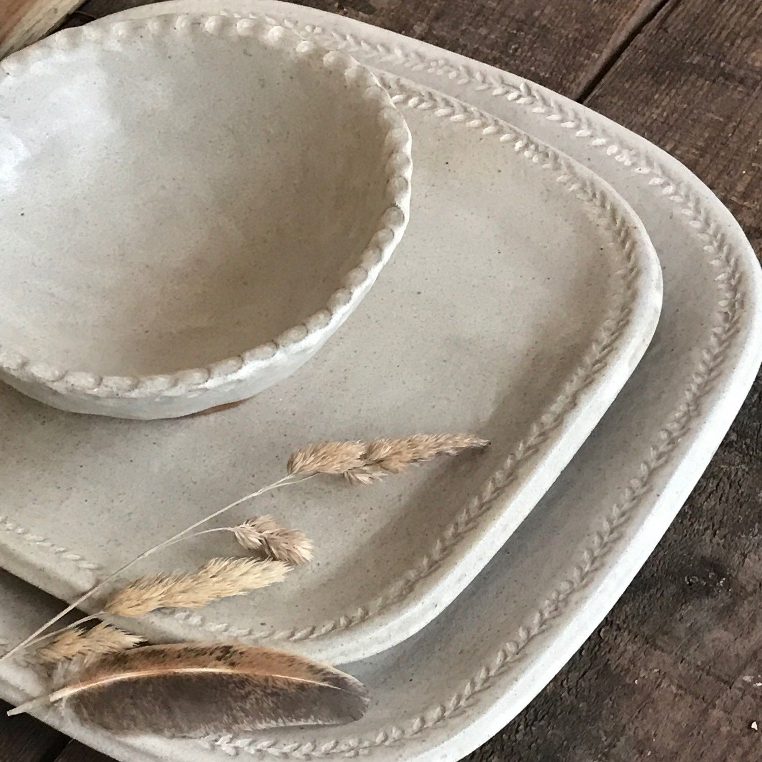 Farmhouse White Square Dinnerware Sets With Flower Vine Edging Made To Order Simple Rustic Dinnerware Sets Rustic Rustic Dinnerware Farmhouse Dinnerware