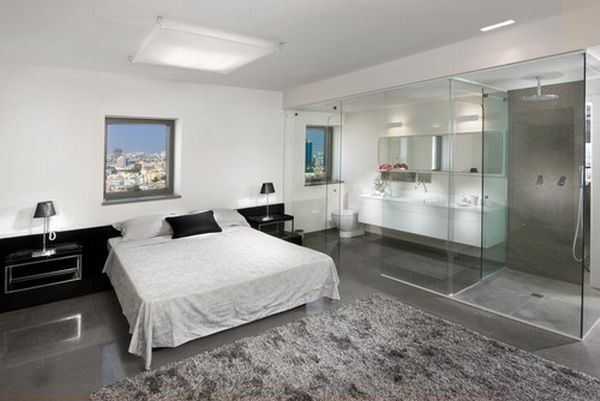 Masculine Bedroom Ideas featuring Glass Wall Bathroom