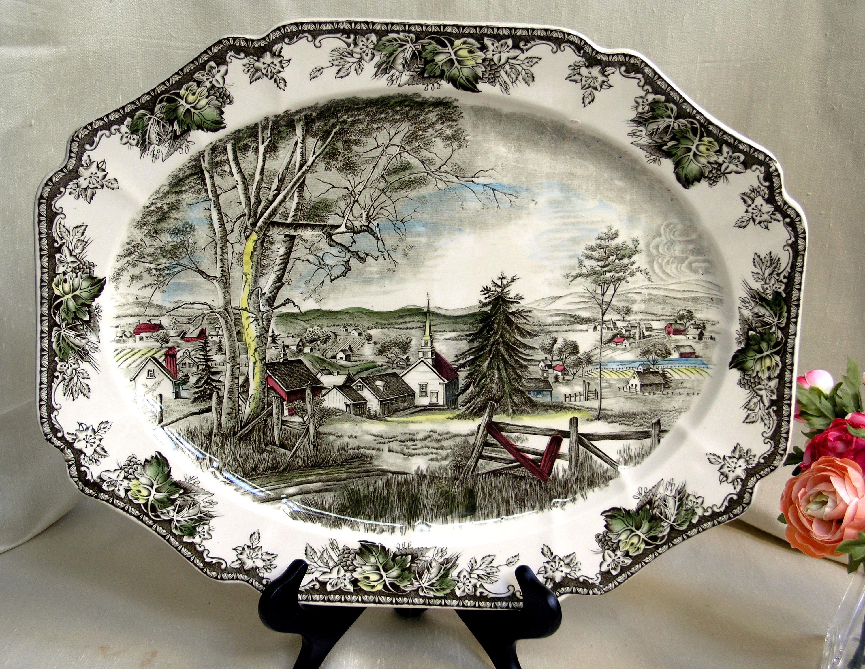 Vintage Johnson Brothers England MERRY CHRISTMAS Square Salad Plates