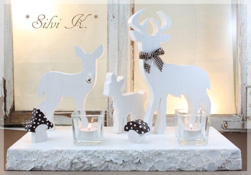Teelichthalter - Hirsch - Familie - Teelicht weiß-braun - ein Designerstück von alsial bei DaWanda