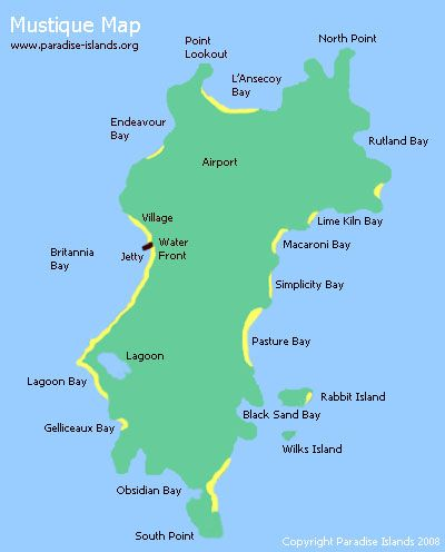 Mustique Map Of The Caribbean Mustique Island Caribbean | Mustique Map | Map of Mustique Island