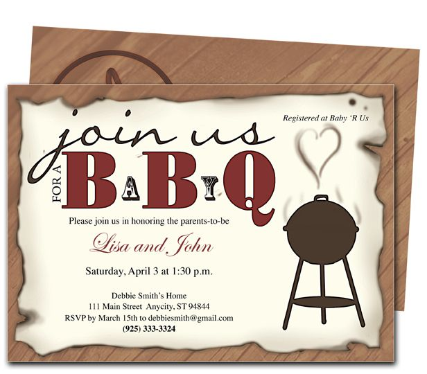 Nice FREE Template BBQ Baby Shower Invitations Baby Shower - free party invitation template word