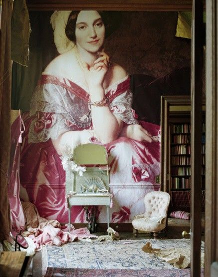 Photo: Tim Walker for W, April 2011.  The blown-up portrait is of Betty de Rothschild by Ingres, 1848.