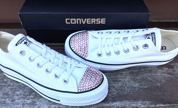 a47cd05ae57e Ivory Converse Leather Low Top Cream Blush Pink Rose Gold Wedding Chuck  Taylor w  Swarovski Crystal