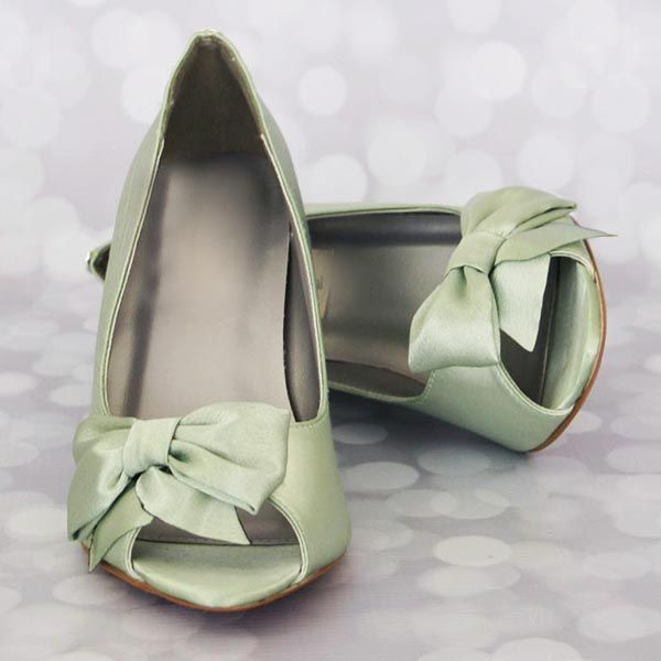 Great Clover Green Wedding Shoes Wedges Bow Toe Design Your Own Wedding Shoes