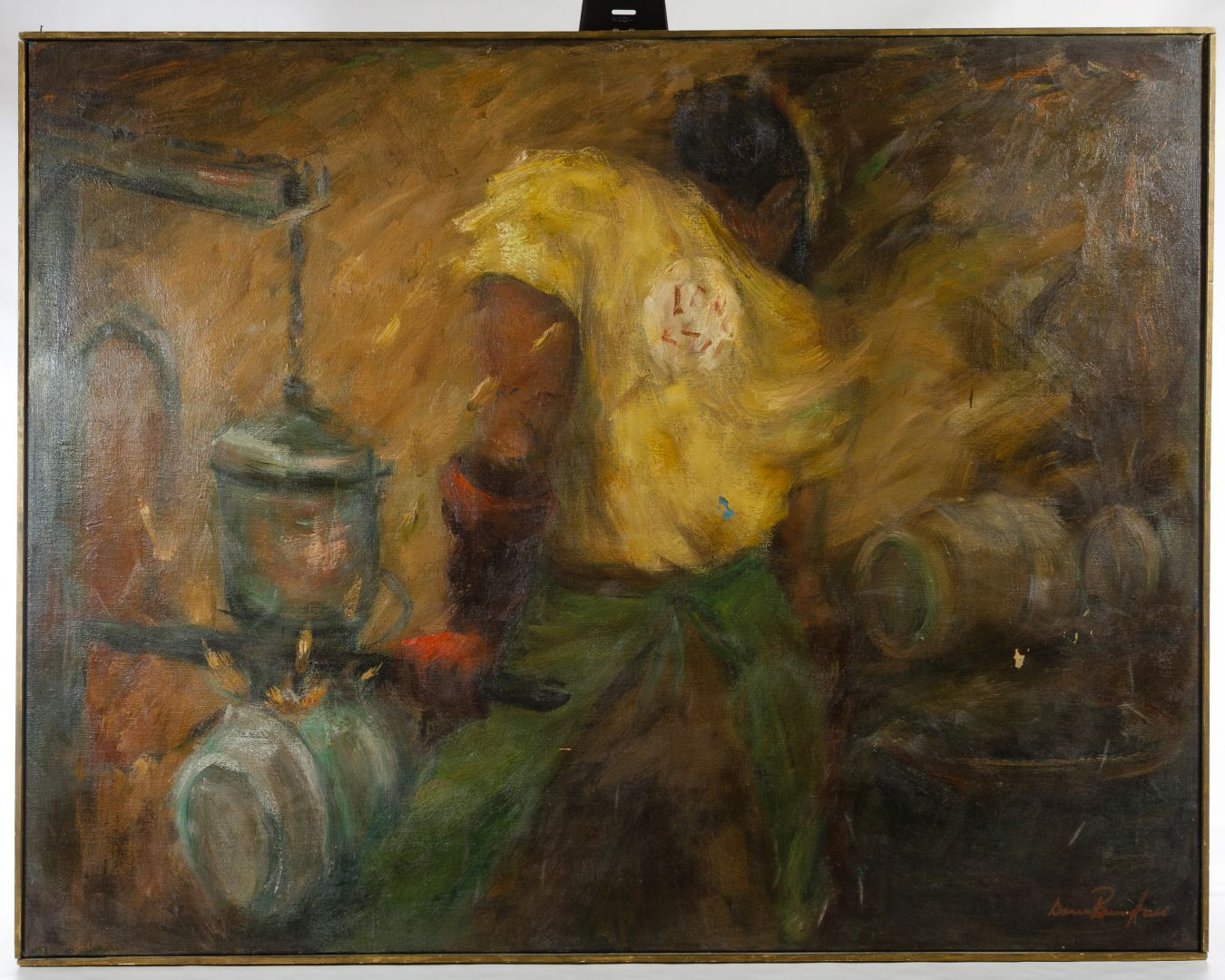 """Lot 340: Donna Berryhill (American, 1931-1997) Oil on Canvas; Undated, signed lower right, depicting a black male iron worker wearing a yellow shirt inside a iron shop; canvas stretcher is marked """"Meny's Art Shop 5509 San Pedro San Antonio, TEX"""" and """"Reg Bungler"""""""