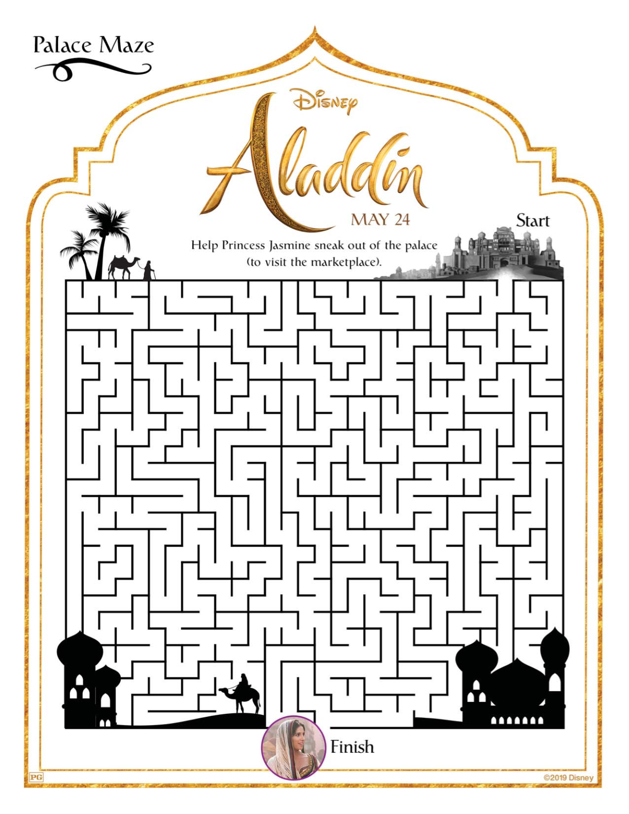 Free Printable Disney Aladdin Palace Maze Disney Aladdin