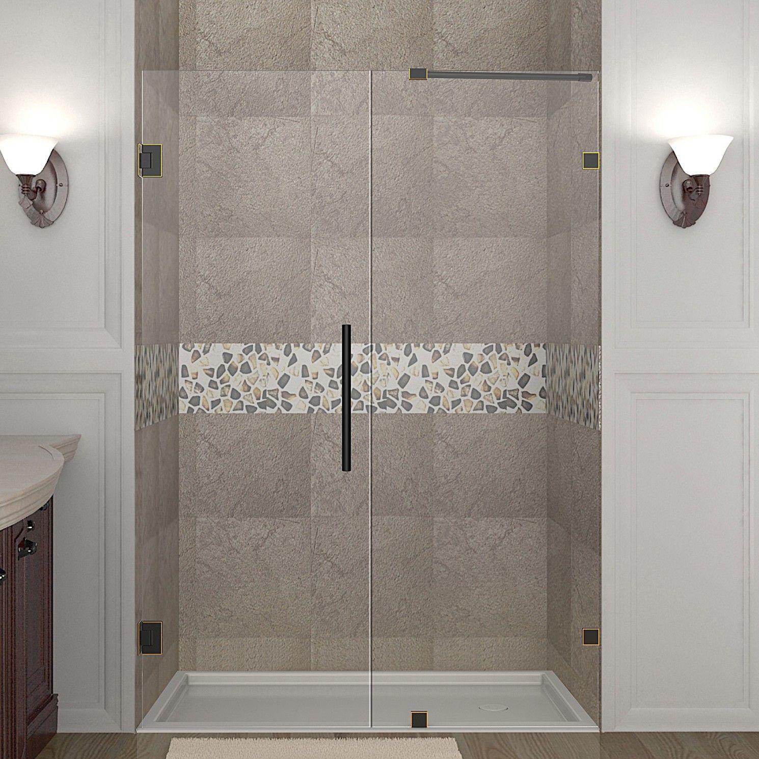 Nautis 46 X 72 Hinged Completely Frameless Shower Door Products