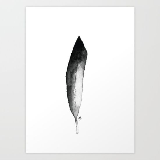 Black White Feather Art Print Feather Art Art Prints Black And White Painting