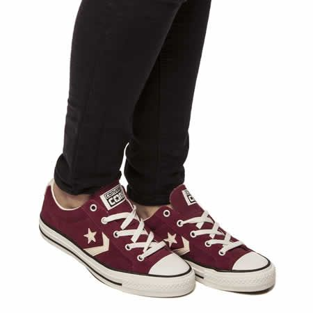womens converse burgundy star player ox suede ii trainers