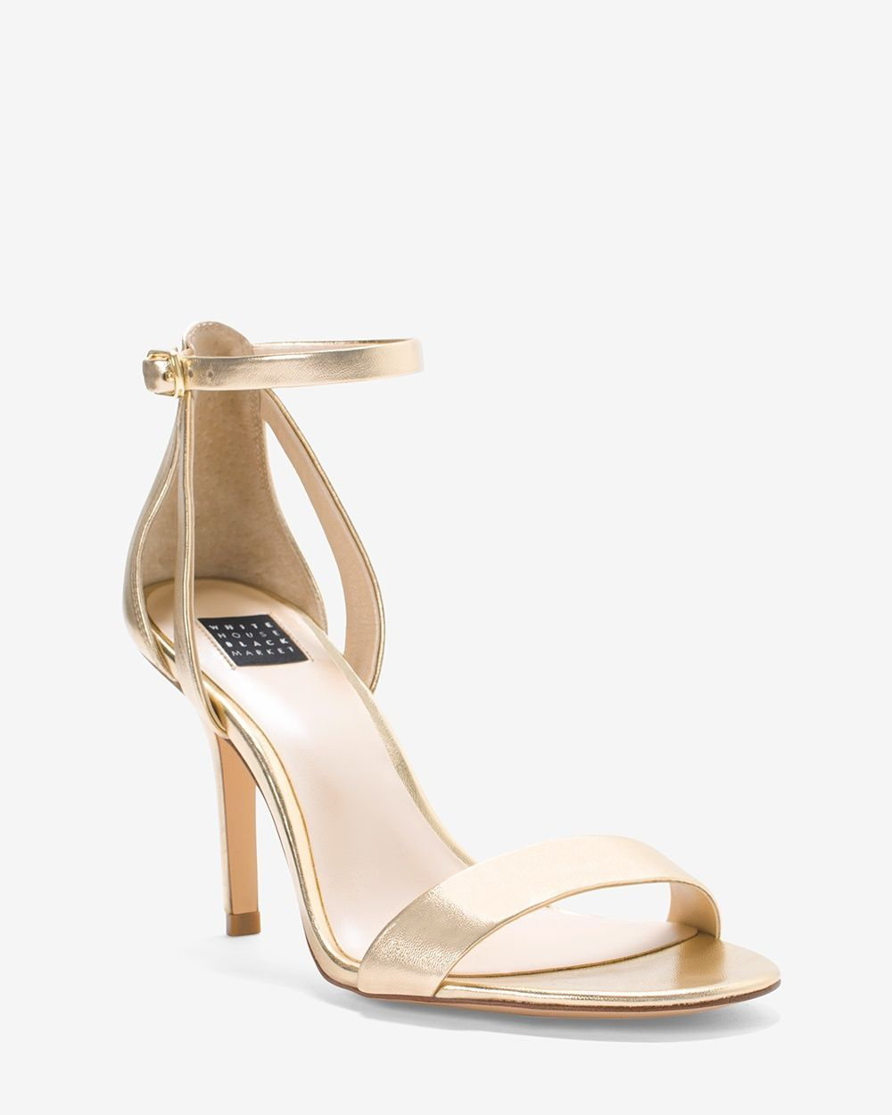 c718196b3 Women's Gold Strappy Mid-Heel Sandals by WHBM | Products | Mid heel ...