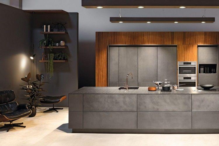 modèle de cuisine moderne en béton, parement bois, fauteuil relax en ...