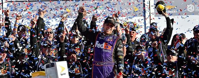 Denny Hamlin wins Daytona 500 in thrilling finish. (Reuters)