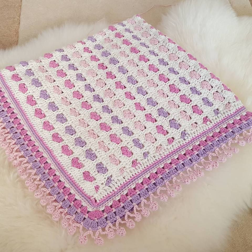 Lovely crochet heart baby blanket with pompom edging pattern crochet lovely crochet heart baby blanket bankloansurffo Images