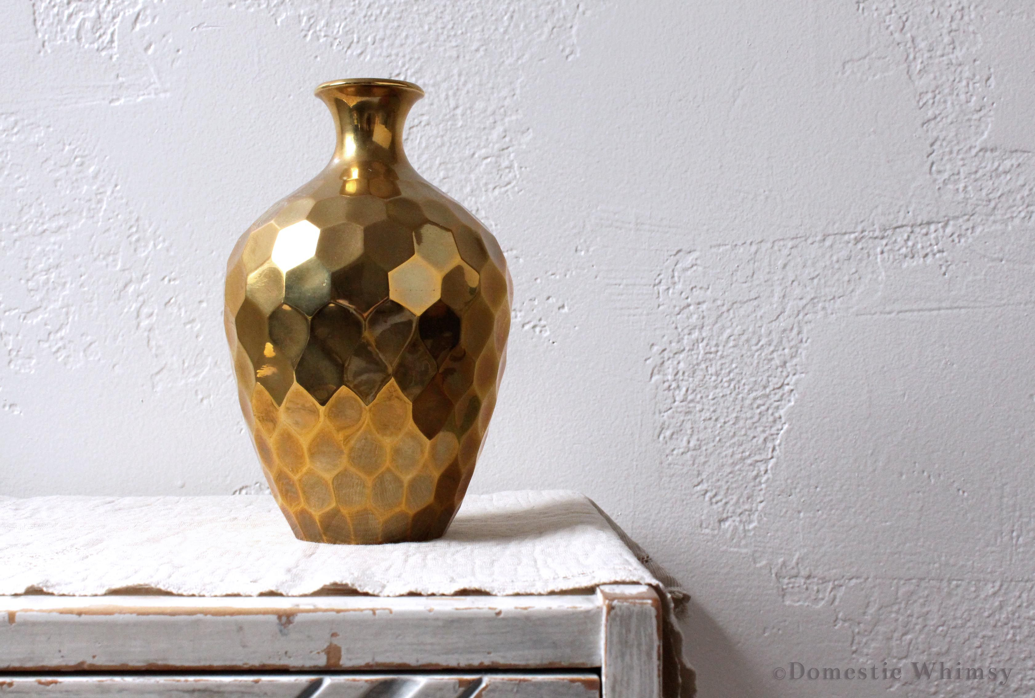 Solid brass vase with honeycomb pattern made in india unique solid brass vase with honeycomb pattern made in india unique vintage find not reviewsmspy