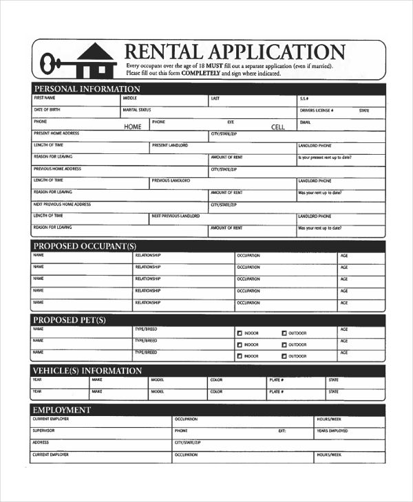 Free Printable Rental Application Form Rent Agreement \u2013 thundertext