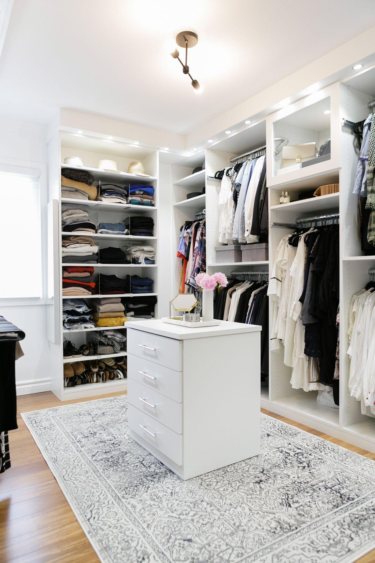 Crisp, Clean, Modern, White Walk In Closet // Dream Closet Design By