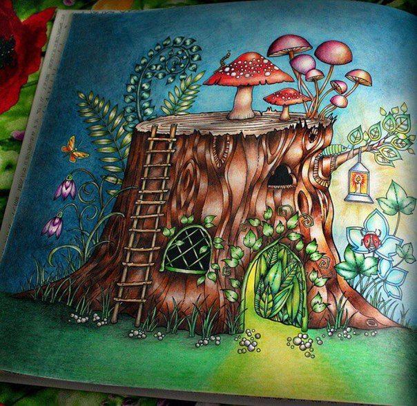 Раскраска антистресс зачарованный лес раскрашенная ...