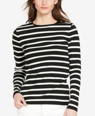 51429029 Button-Shoulder Striped Top | Me | Crew neck shirt, Tops, Black tops