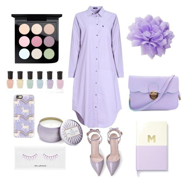 """Pastel purple"" by hereisalessia ❤ liked on Polyvore featuring MAC Cosmetics, Deborah Lippmann, Casetify, shu uemura, Voluspa, Kate Spade and Josette"