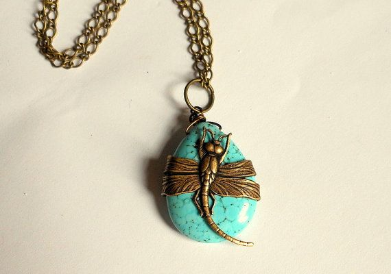 Dragonfly PendantTurquoise Dragonfly Necklace by ATouchofRomance