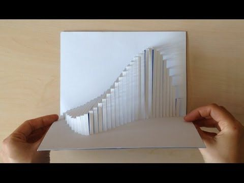 Amazing Wave Pop Up Card Tutorial Youtube Kirigami Card Tutorial Abstract Painting Easy