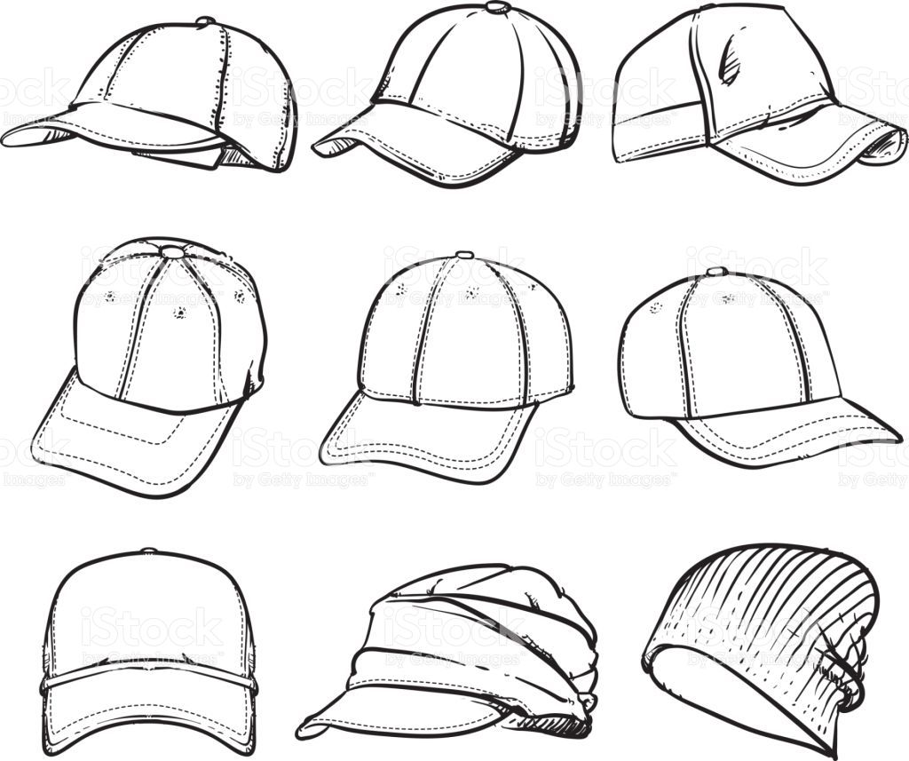 Vector set of cap. Hand drawn hat vector illustration on a white...