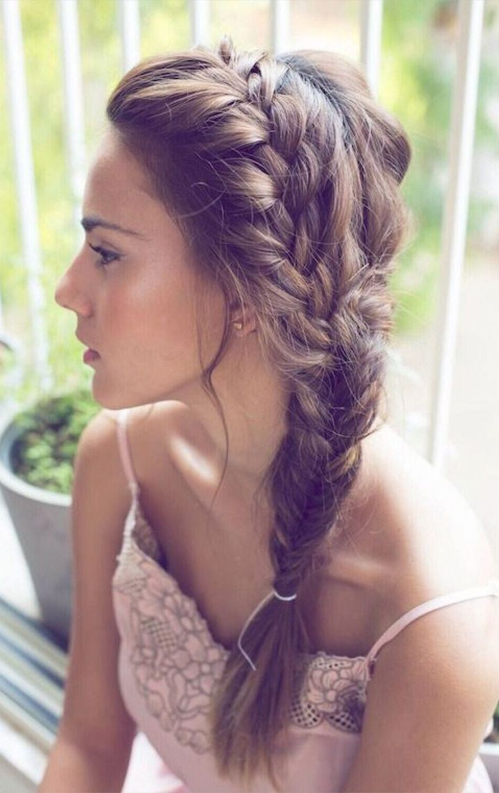 Love this loosly gathered side braid prom hairstyles pinterest