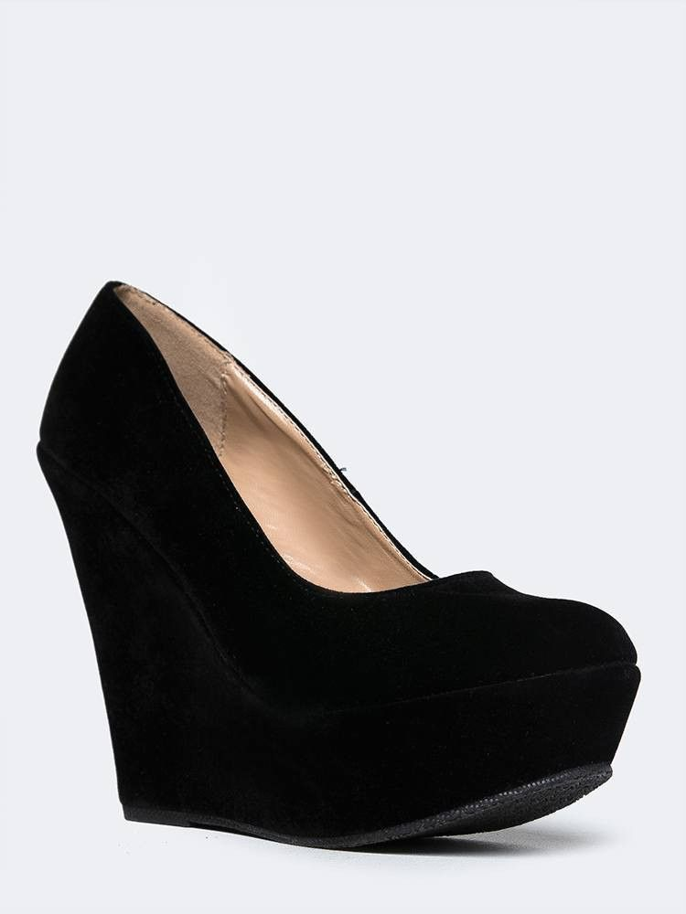 - These platform heels are just what Friday night needs! - Verstaile wedge pumps have a velvet upper and a round toe making it versatile for any other day of the week too. - Non-skid sole and cushione