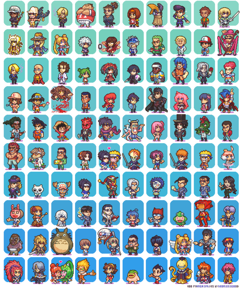 100 Manga and Anime Sprites by Neoriceisgood Desenhos