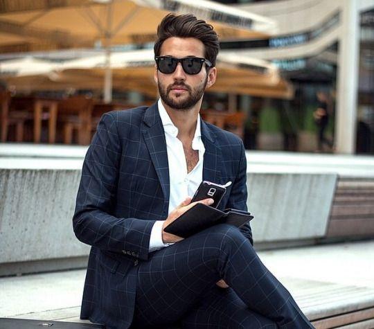 Nice stylish look - love the navy windowpane suit