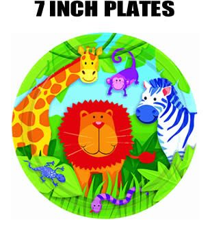 "Jungle Animals 7"" Birthday Cake Plates"