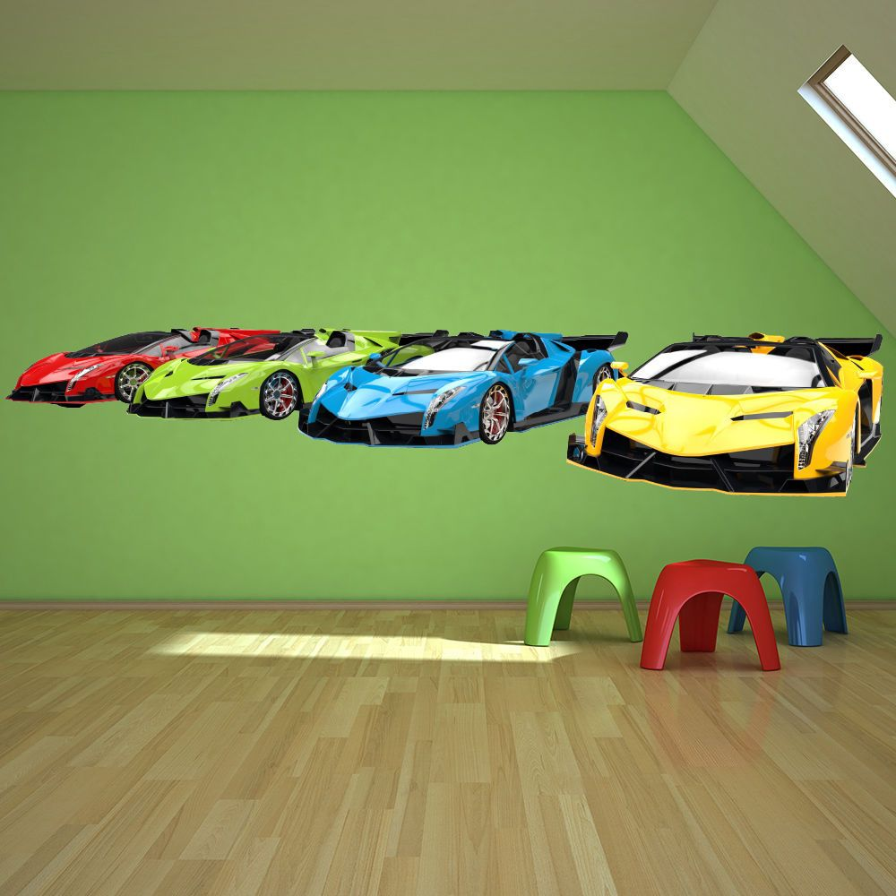 Sports Cars Wall Sticker Transport Wall Decal Boys Bedroom Home Decor Hot Wheels Bedroom Cars Bedroom Decor Boys Bedroom Paint [ 1000 x 1000 Pixel ]