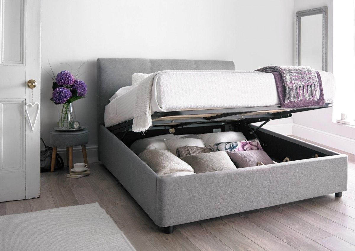 Serenity Upholstered Ottoman Storage Bed Cool Grey Ottoman