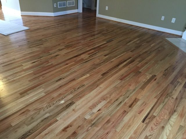2 1 4 Red Oak Unfinished Installed Sanded Down And 3 Coats Of Polyurethane Holbert Job Flooring Hardwood Floors Red Oak Floors