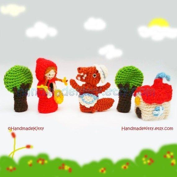 Red Riding Hood Fairy Tale Finger Puppets Amigurumi PDF Crochet ...