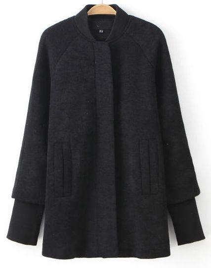 Black Crew Collar Raglan Sleeve Longline Coat - Sheinside.com