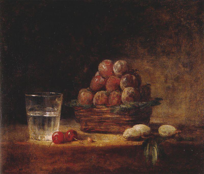Le Panier de prunes, v 1759, huile sur toile, 38,5 x 46 cm, Paris