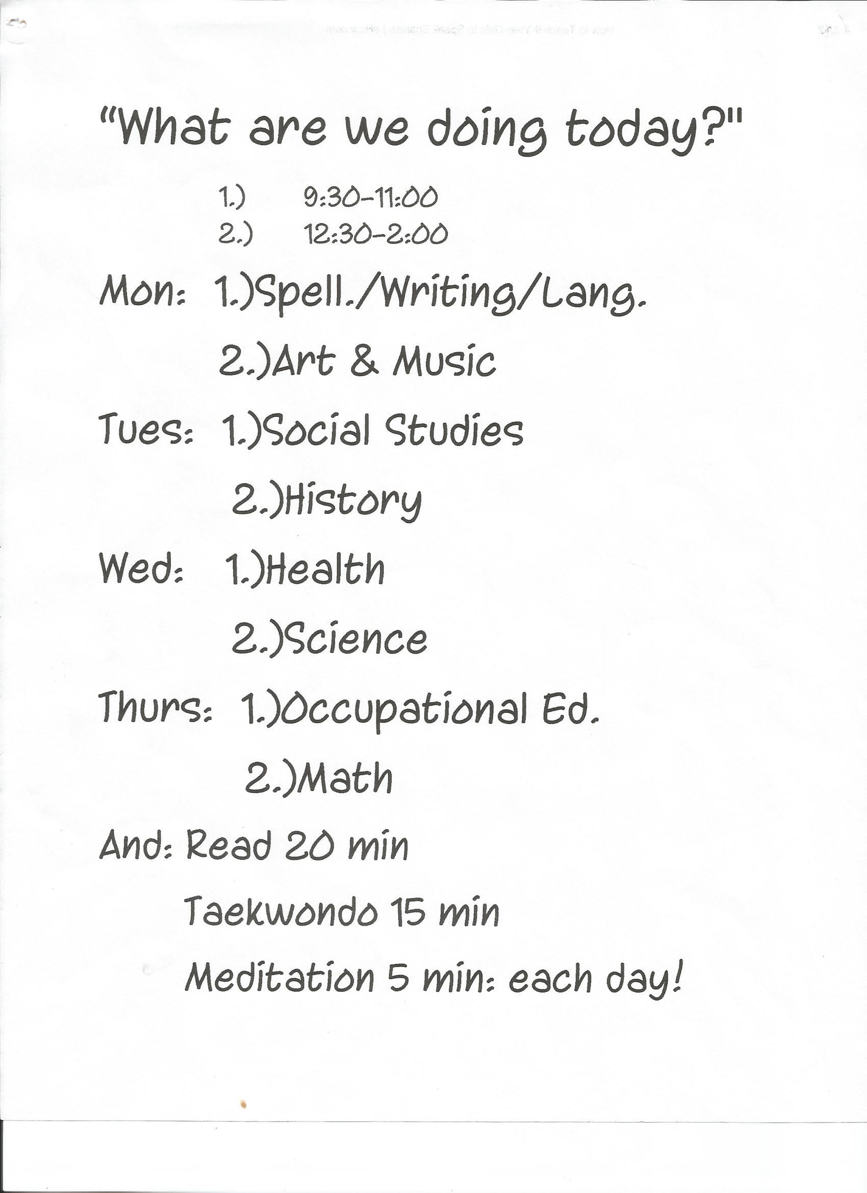 A Sample Of A Daily Homeschooling Schedule  Hip Homeschool