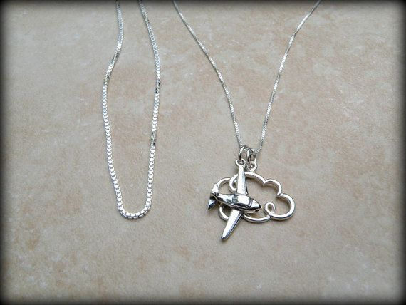 Sterling silver airplane necklace by always4evercreations on Etsy