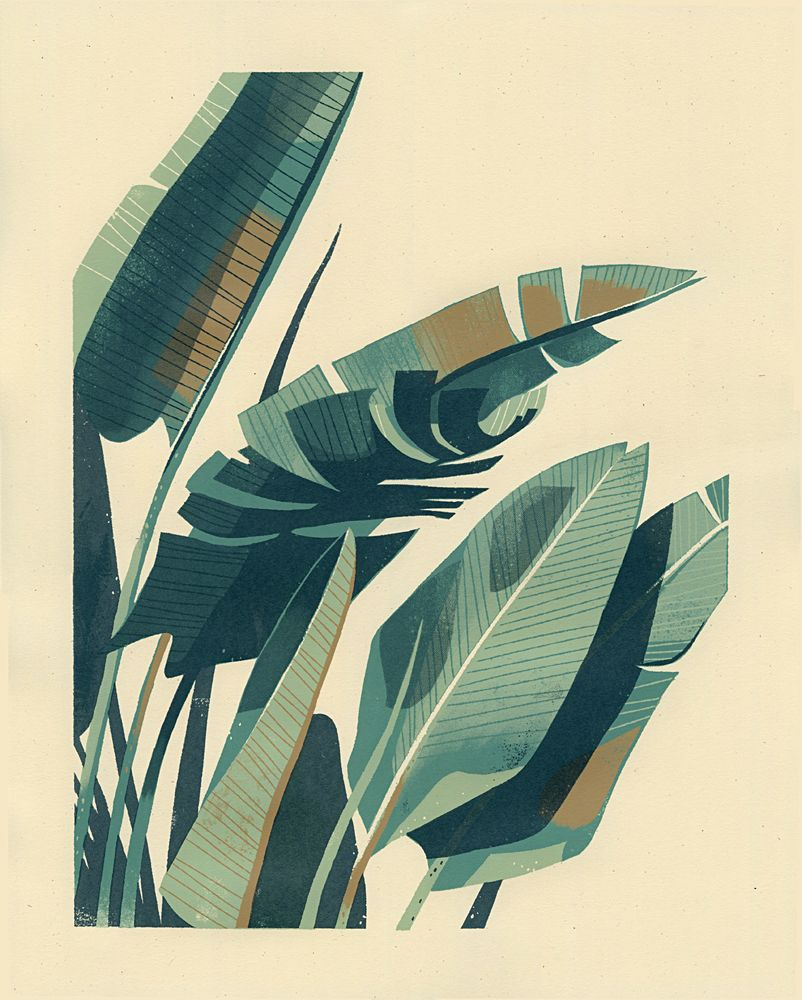 Palm Plant 1- 4-color Hand-pulled Screenprint- 16 X 20