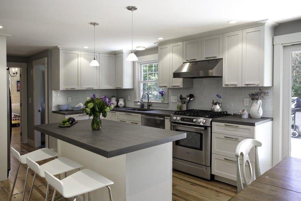 Backsplash Transitional with gray kitchen cabinets dark gray