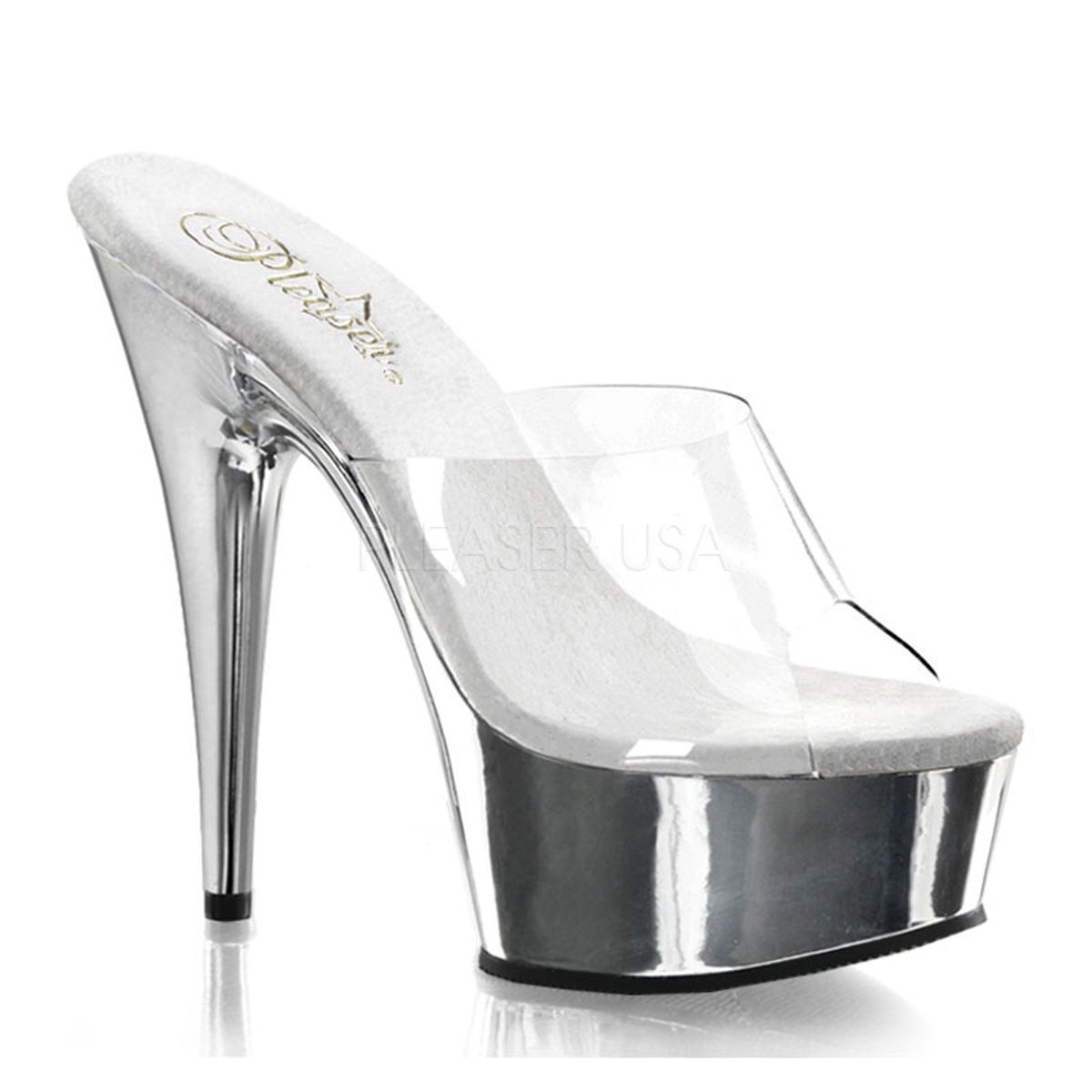 719e1693f30d7 Silver Clear Platform High Heels Drag Queen Crossdresser Stripper Shoes 12  13