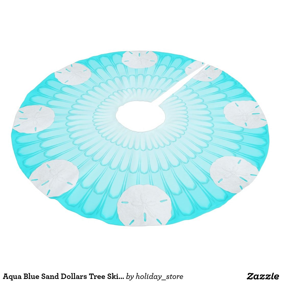 Aqua Christmas Tree Skirt: Aqua Blue Sand Dollars Tree Skirt