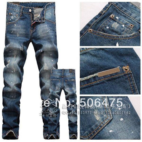 New Newly Style Famous DSQ Brand Men's Jeans Denim Cotton D2 Jeans Pants Blue Straight free shipping Price: US $47.77