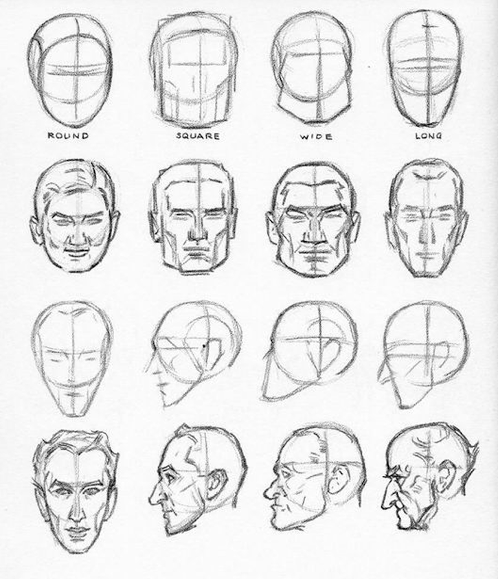 Part One Men S Heads Praxis Male Face Drawing Drawing Heads Guy Drawing